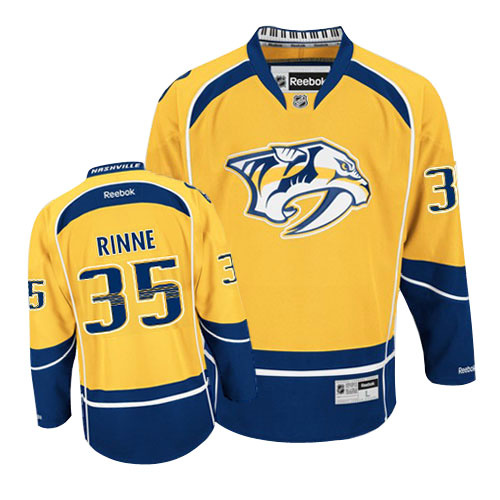 Nashville Predators 35 Pekka Rinne Yellow Premier Home NHL jerseys