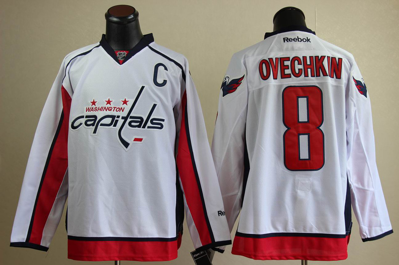 Washington Capitals 8 Alex Ovechkin Embroidered White NHL Jersey