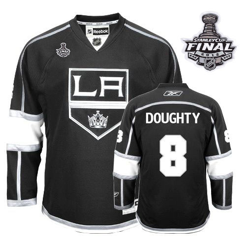 Reebok Los Angeles Kings #8 Drew Doughty Authentic Black Home Man With Stanley Cup Finals NHL Jersey