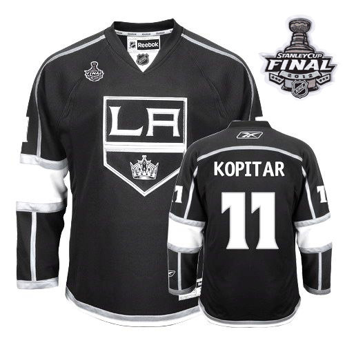 Reebok Los Angeles Kings #11 Anze Kopitar Authentic Black Home Man With Stanley Cup Finals NHL Jersey