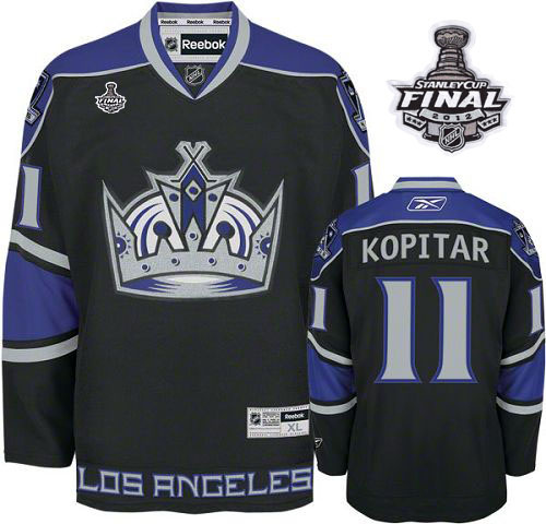Reebok Los Angeles Kings #11 Anze Kopitar Black Third Authentic Man With Stanley Cup Finals NHL Jersey
