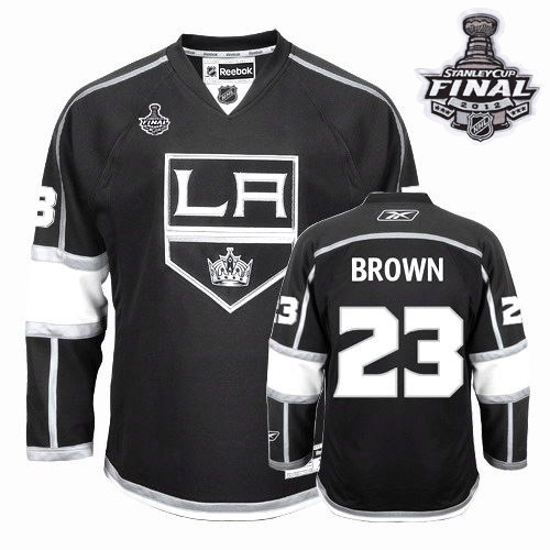 Reebok Los Angeles Kings #23 Dustin Brown Authentic Black Home Man With Stanley Cup Finals NHL Jersey