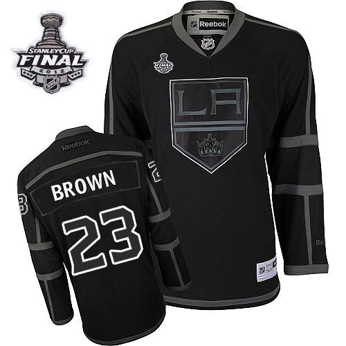Reebok Los Angeles Kings #23 Dustin Brown Black Ice Authentic Man With Stanley Cup Finals NHL Jersey