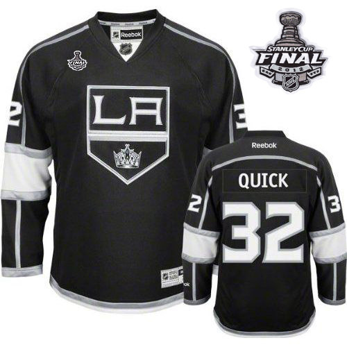 Reebok Los Angeles Kings #32 Jonathan Quick Black Home Authentic Man With Stanley Cup Finals NHL Jersey