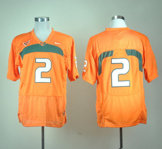 NCAA Miami Hurricanes 2 Jon Beason orange Stitched Jerseys