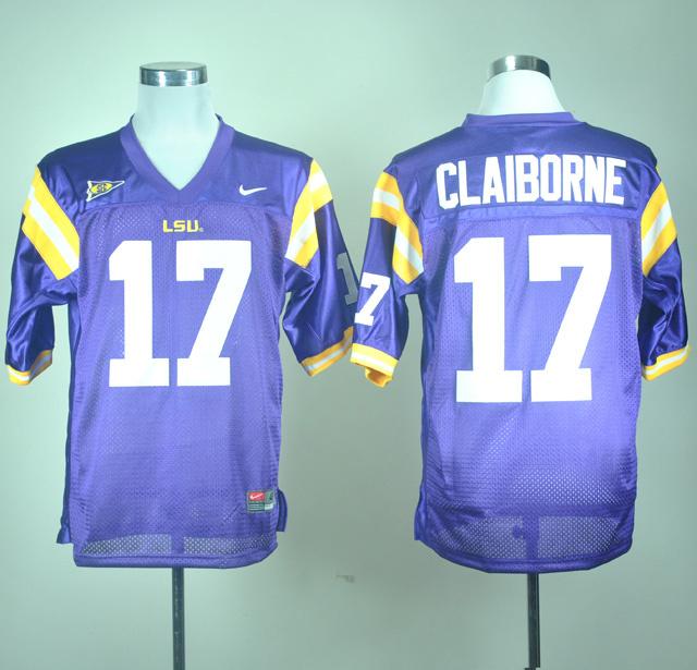 NCAA Nike LSU Tigers Morris Claiborne 17 Purple College Football