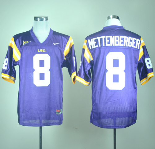 NCAA Nike LSU Tigers Zach Mettenberger 8 Purple College