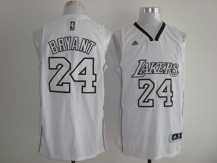 NBA Los Angeles Lakers 24 Kobe Bryant White jerseys