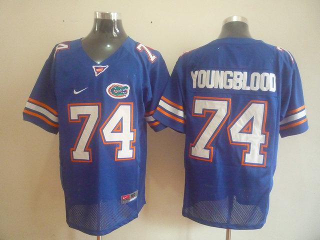 NCAA Florida Gators 74 youngblood Blue jerseys