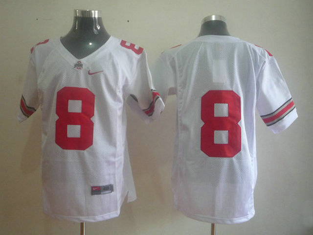 NCAA Ohio State Buckeyes 8 white jerseys