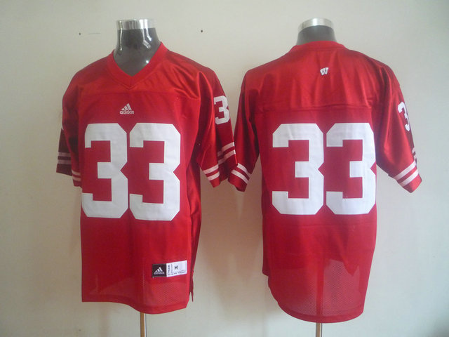 NCAA Wisconsin Badgers 33 Red adidas Premier Football Jersey