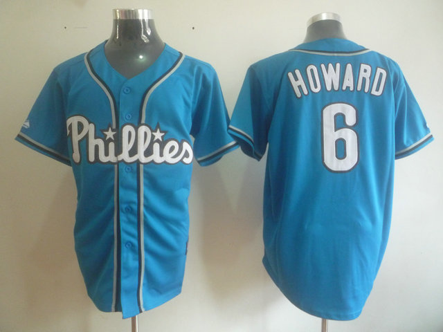 MLB Philadelphia Phillies 6 Howard Blue jerseys