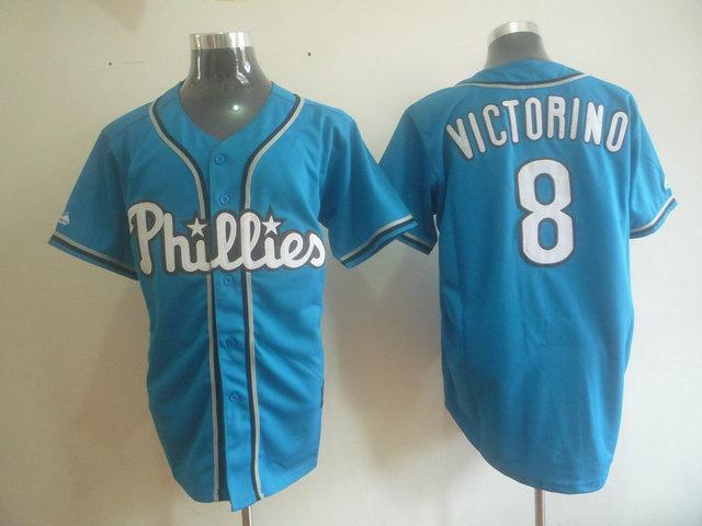 MLB Philadelphia Phillies 8 VICTORINO Blue jerseys