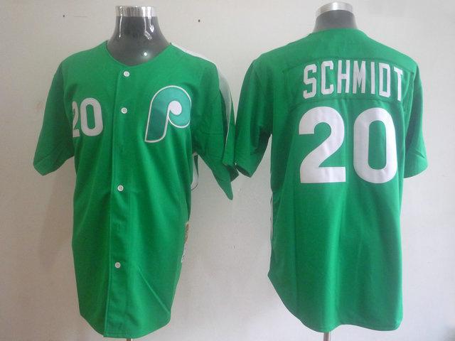 MLB Philadelphia Phillies 20 SCHMIDT Green jerseys