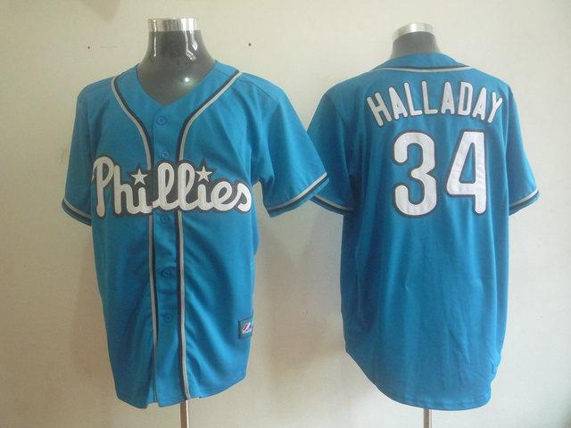 MLB Philadelphia Phillies 34 Halladay Blue jerseys