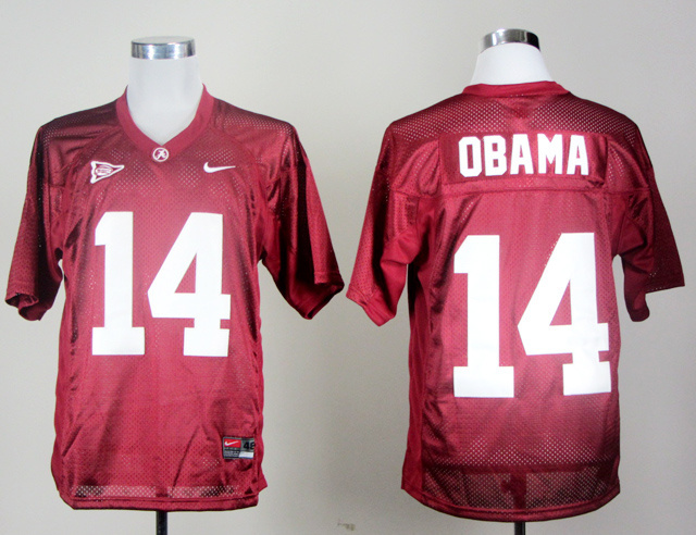 NCAA Alabama Crimson Tide 14 Barack Obama Red Jerseys