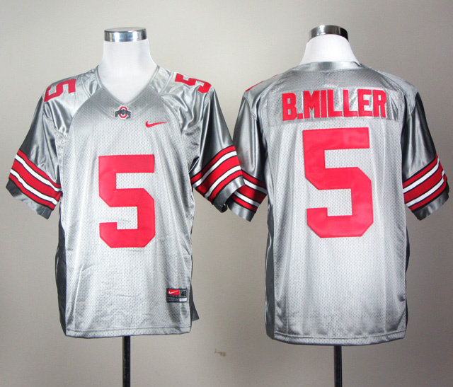 NCAA Ohio State Buckeyes 5 Braxton Miller Grey College Football Jersey