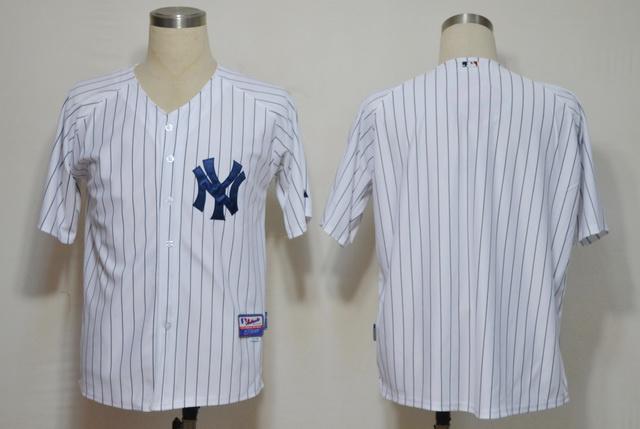 MLB Jerseys New York Yankees Blank White black strip
