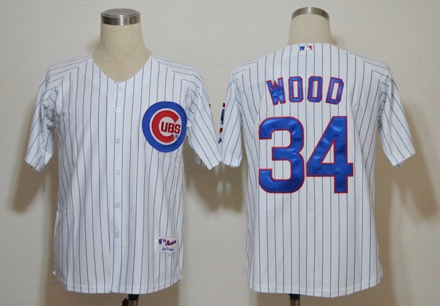 MLB Jerseys Chicago Cubs 34 Kerry Wood White blue strip