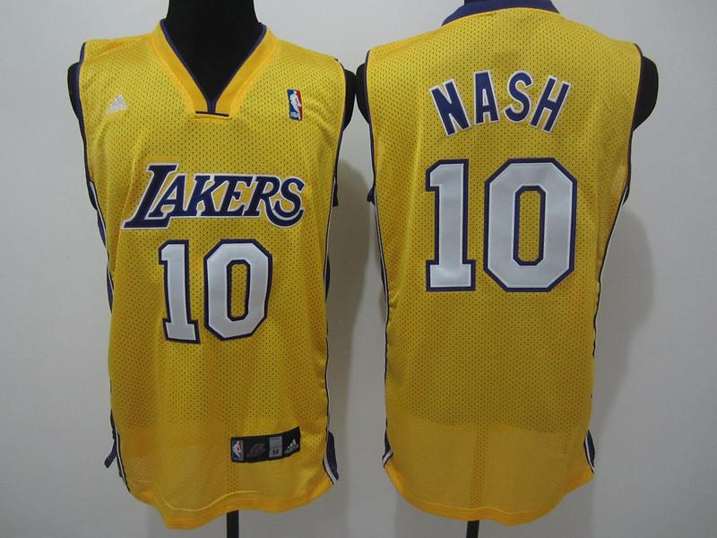 NBA Los Angeles Lakers 10 nash yellow jerseys