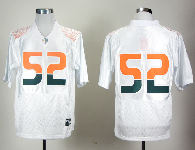 NCAA Miami Hurricanes 52 LEWIS Rivalry white Jerseys