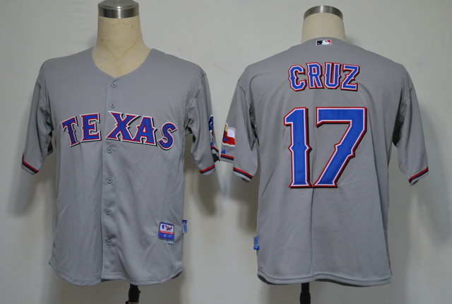 MLB Jerseys Texas Rangers 17 cruz Grey Cool Base