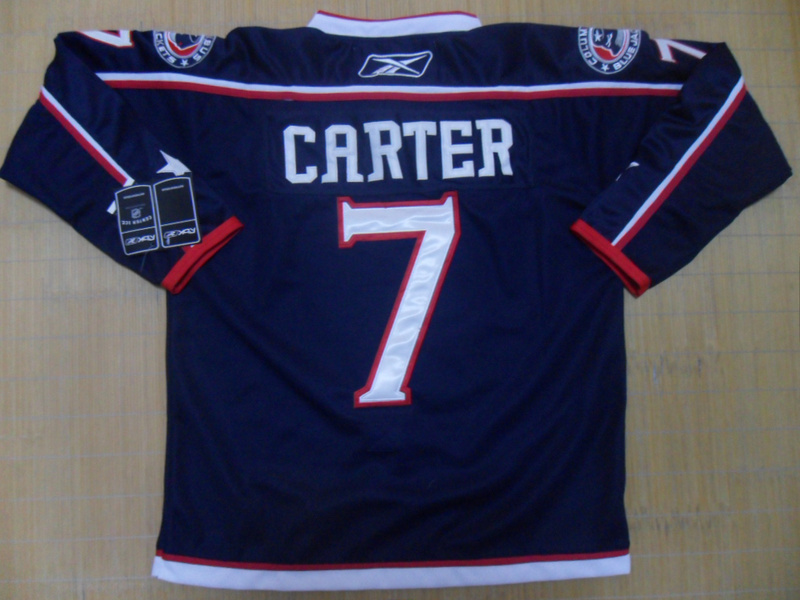 NHL Columbus Blue Jackets 7 Carter Navy Blue Jersey