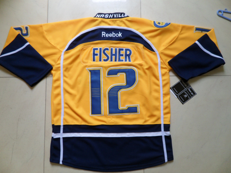 NHL Nashville Predators 12 Mike Fisher Yellow Jersey