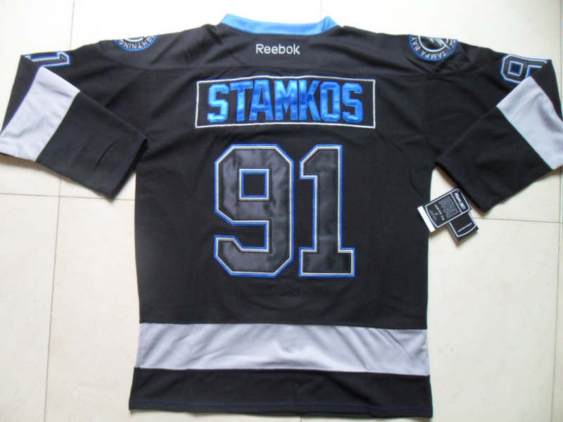 NHL Tampa Bay Lightning 91 Steven Stamkos Black Ice Jersey