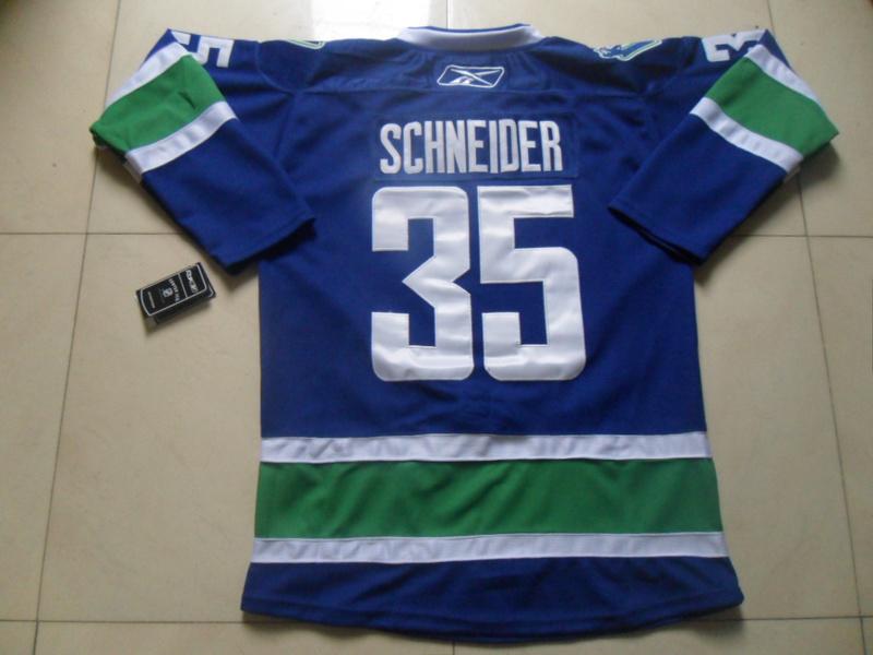NHL Vancouver Canucks 35 Cory Schneider Blue Jersey