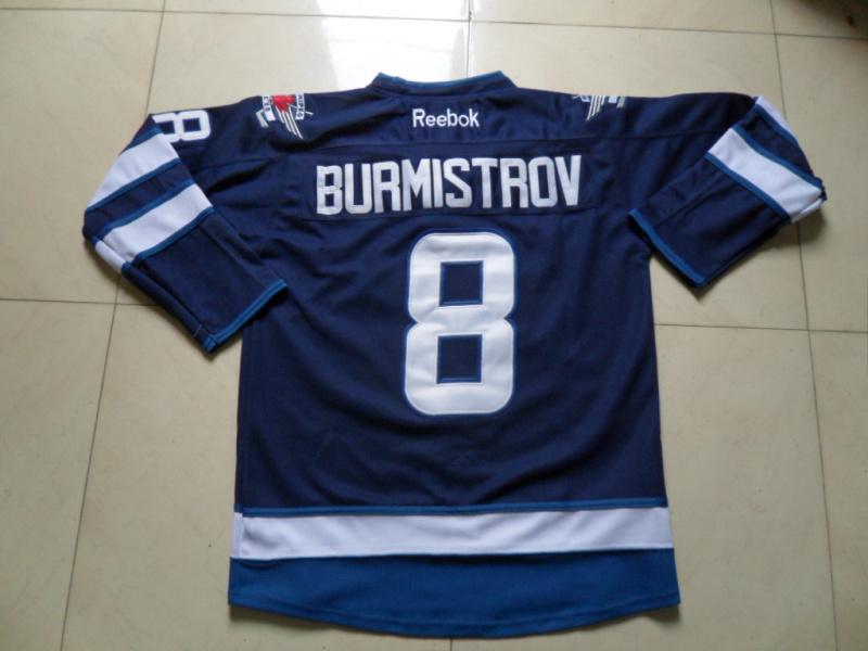 NHL Winnipeg Jets 8 Alexander Burmistrov Blue Jersey