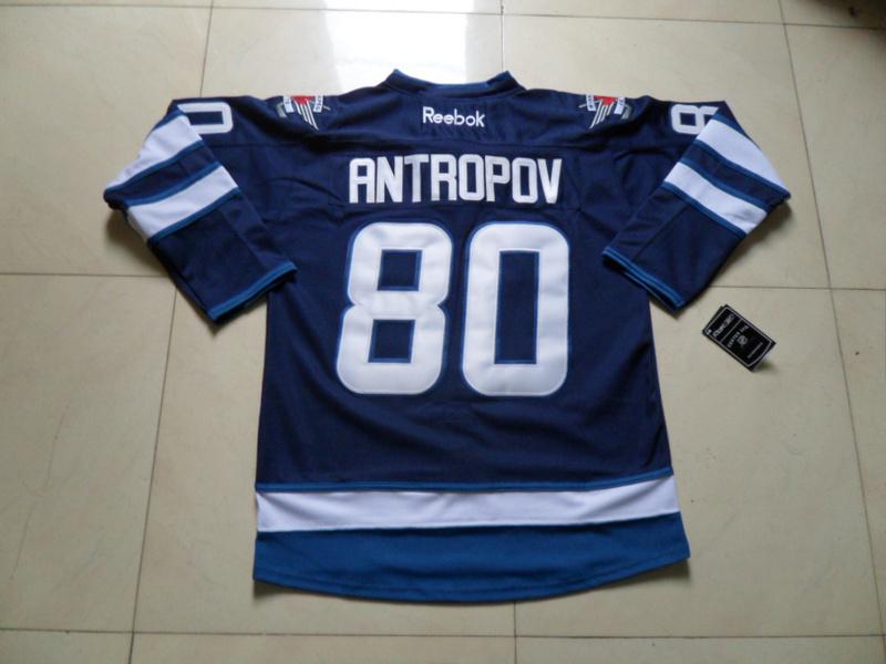 NHL Winnipeg Jets 80 Nik Antropov Blue Jersey
