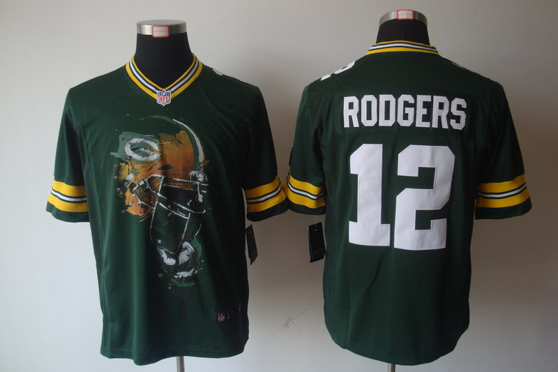 Green Bay Packers 12 RODGERS Green nike Helmet Tri-Blend Limited Jersey