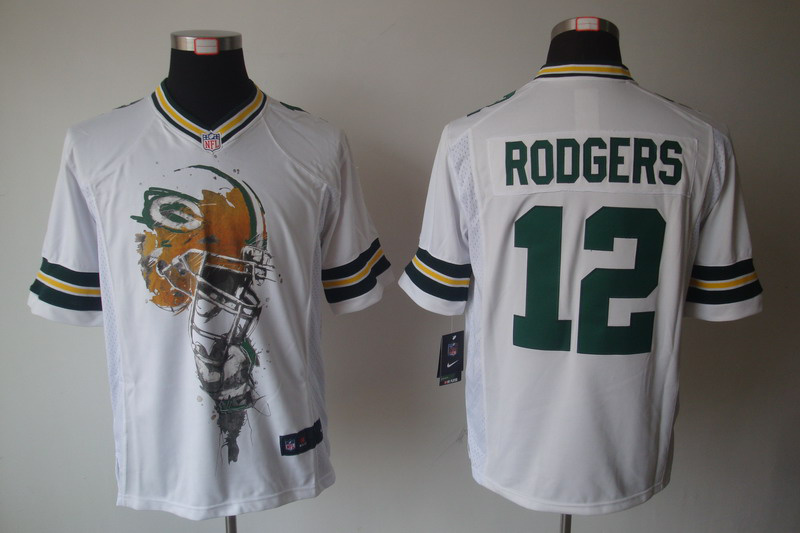 Green Bay Packers 12 RODGERS White nike Helmet Tri-Blend Limited Jersey