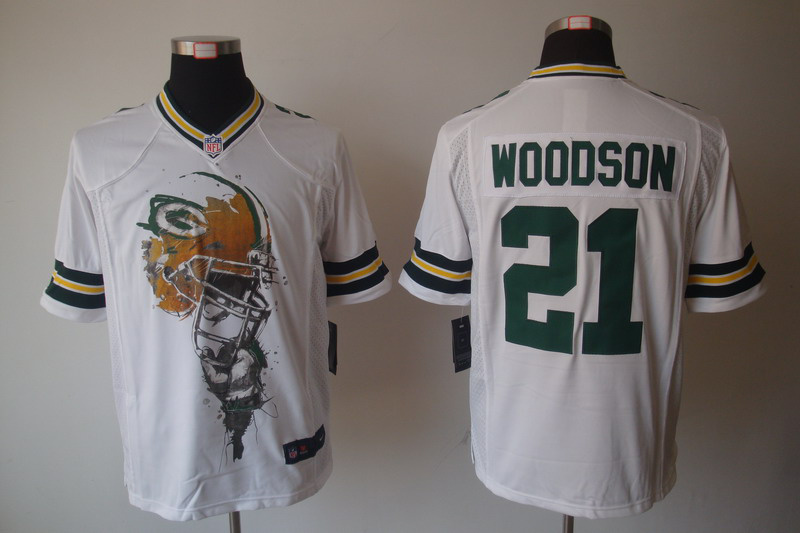 Green Bay Packers 21 Woodson White nike Helmet Tri-Blend Limited Jersey