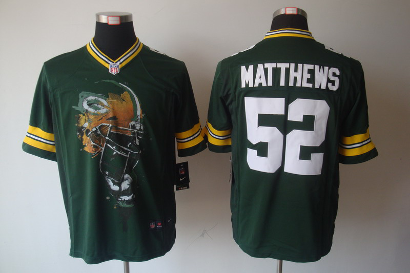 Green Bay Packers 52 Matthews Green nike Helmet Tri-Blend Limited Jersey