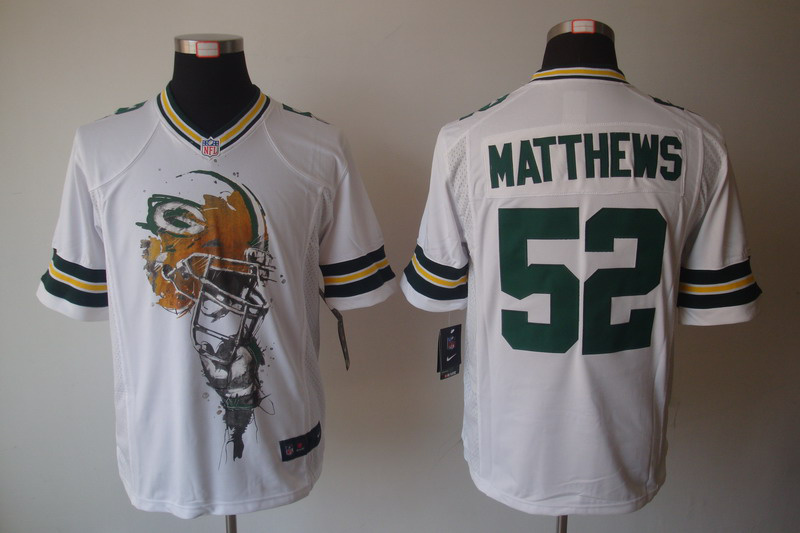 Green Bay Packers 52 Matthews White nike Helmet Tri-Blend Limited Jersey