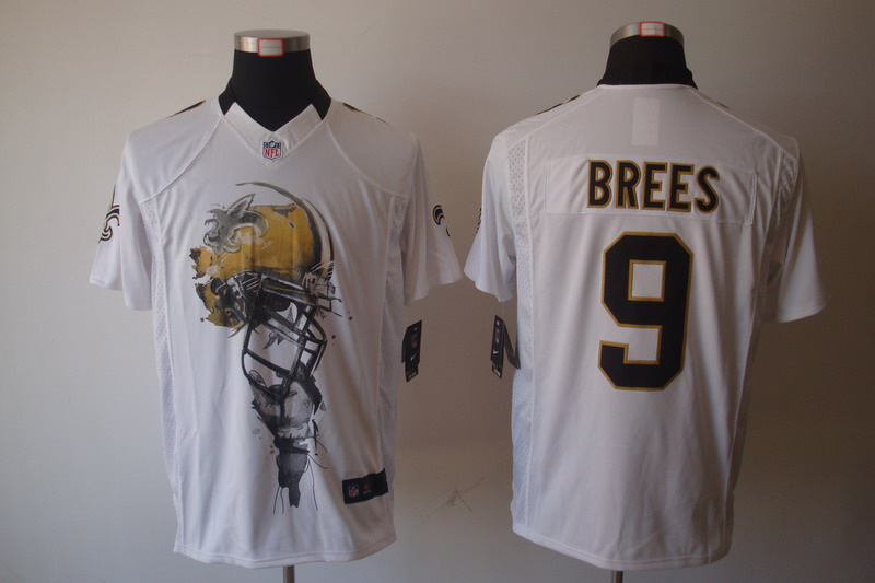 New Orleans Saints 9 Brees White nike Helmet Tri-Blend Limited Jersey