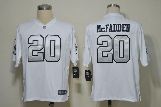 Oakland Raiders 20 Darren McFadden White Silver Number Game nike jerseys