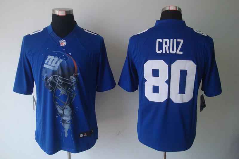 New York Giants 80 Victor Cruz Blue nike Helmet Tri-Blend Limited Jersey