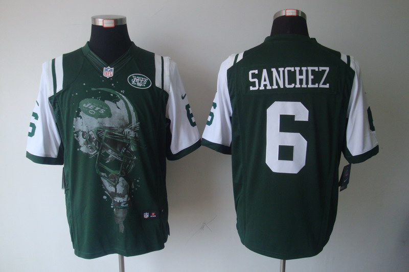 New York Jets 6 Mark Sanchez Green nike Helmet Tri-Blend Limited Jersey