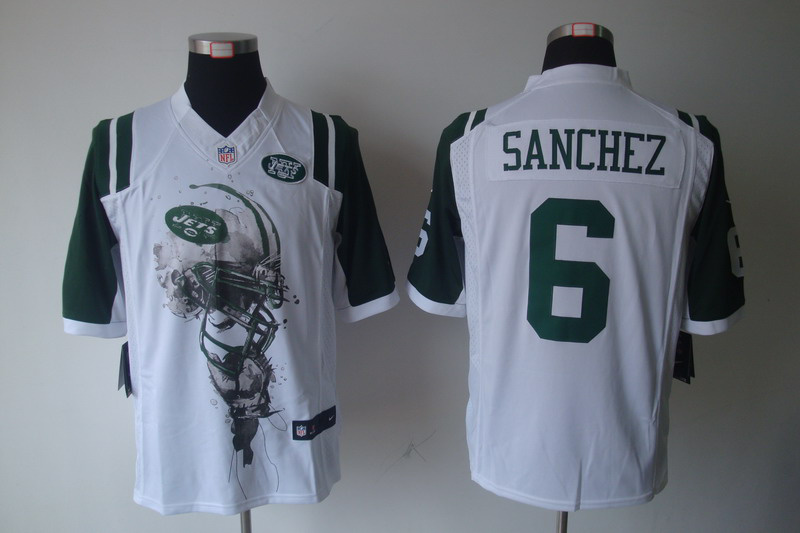New York Jets 6 Mark Sanchez White nike Helmet Tri-Blend Limited Jersey