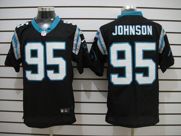 Carolina Panthers 95 Johnson Black Elite nike jerseys