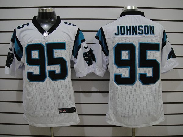 Carolina Panthers 95 Johnson White Elite nike jerseys