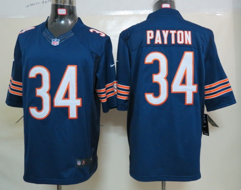 Nike Chicago Bears 34 Payton Blue Limited Jerseys