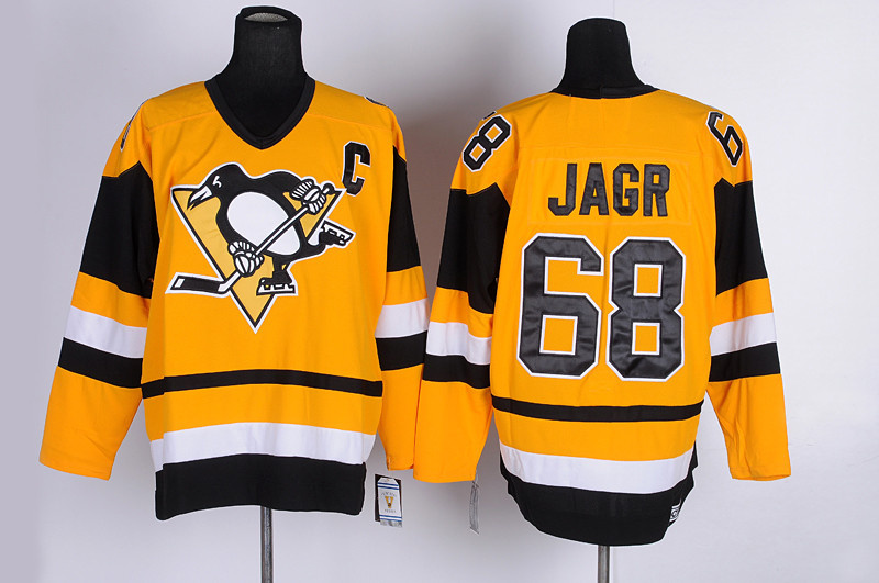 NHL Pittsburgh Penguins 68 Jagr Yellow jerseys