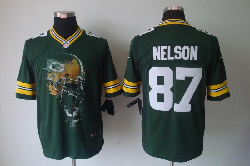 Green Bay Packers 87 Jordy Nelson Green nike Helmet Tri-Blend Limited Jersey