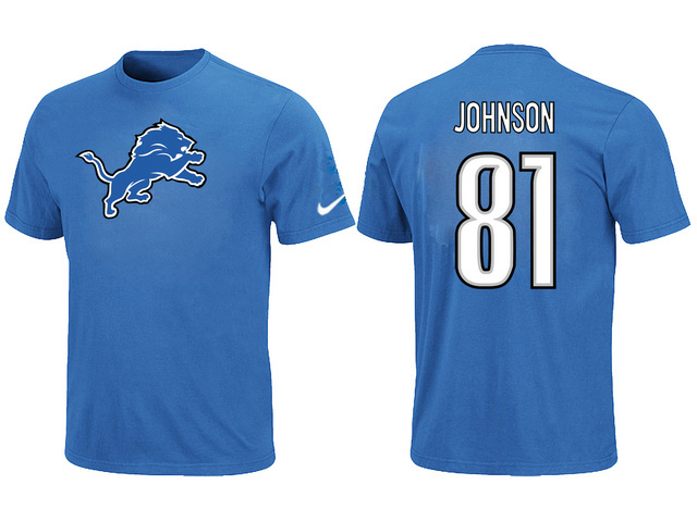 Nike Detroit Lions 81 Calvin Johnson Name Number T-Shirt Blue