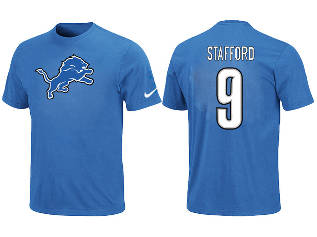 Nike Detroit Lions 9 Matthew Stafford Name Number T-Shirt