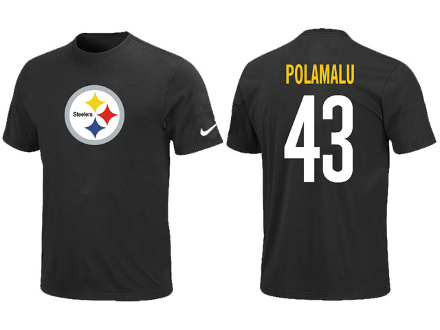 Nike Pittsburgh Steelers Troy Polamalu Name Number T-Shirt Black